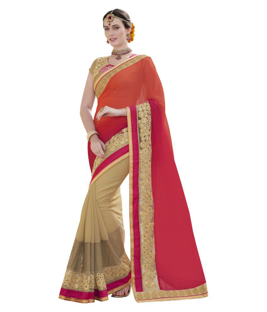Mozzafiate Apparels Multicoloured Chiffon Saree
