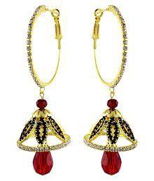 Sewad Multicolour Copper Artificial Jhumki Earrings For Women