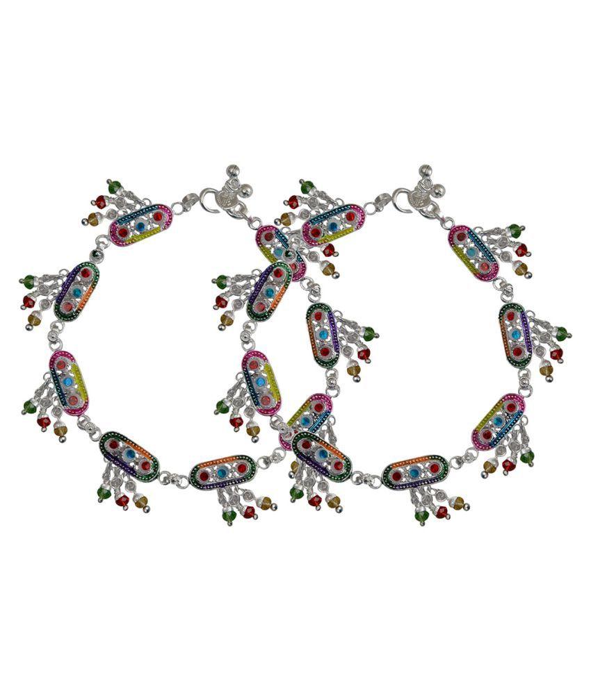 Taj Pearl Silver Alloy Designer Anklets