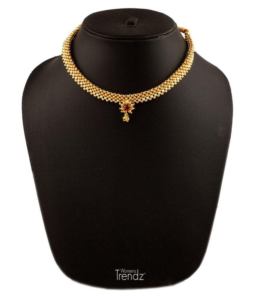 Womens Trendz Fancy Broad Moti Thushi 24K Gold Plated Alloy Necklace