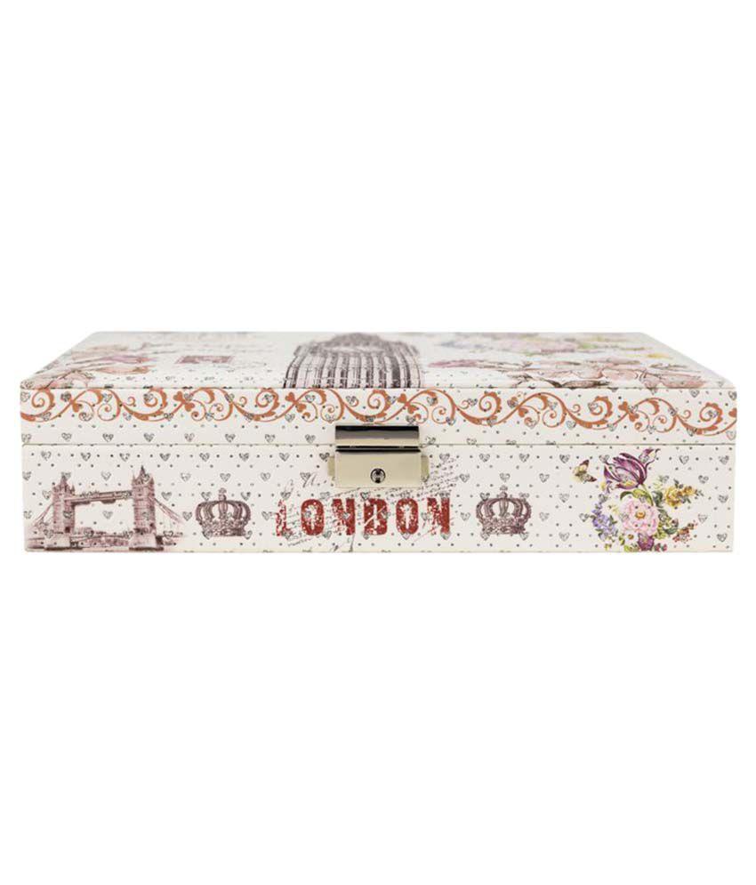 Kaos White Printed Designer Vanity Box