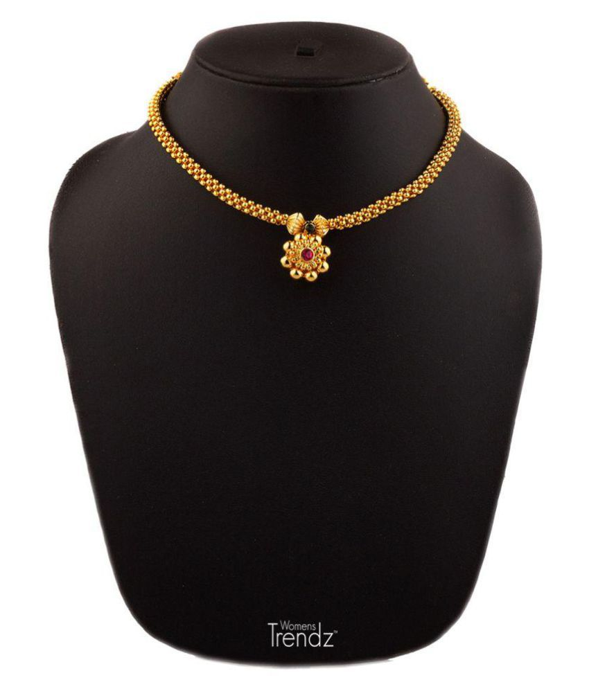 Womens Trendz Kolhapuri Special Saaj Thushi 24K Gold Plated Alloy Necklace