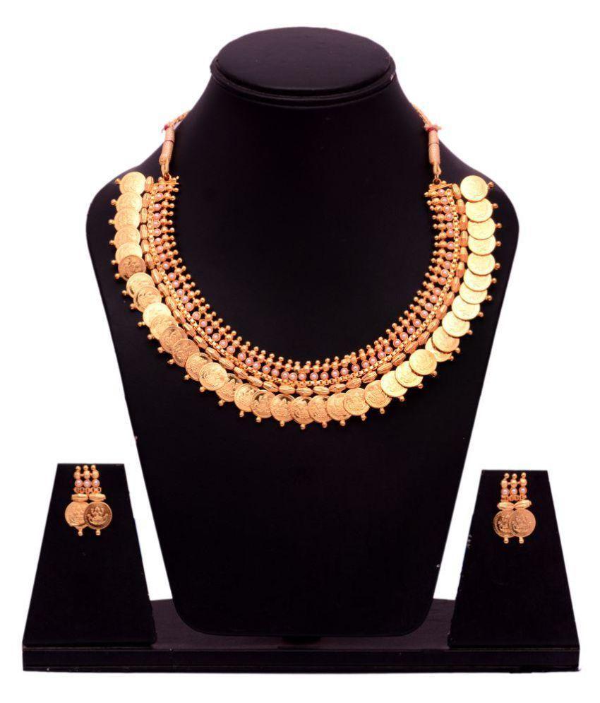 Diyofa Beautiful Laxmi Temple Coin Necklace Set