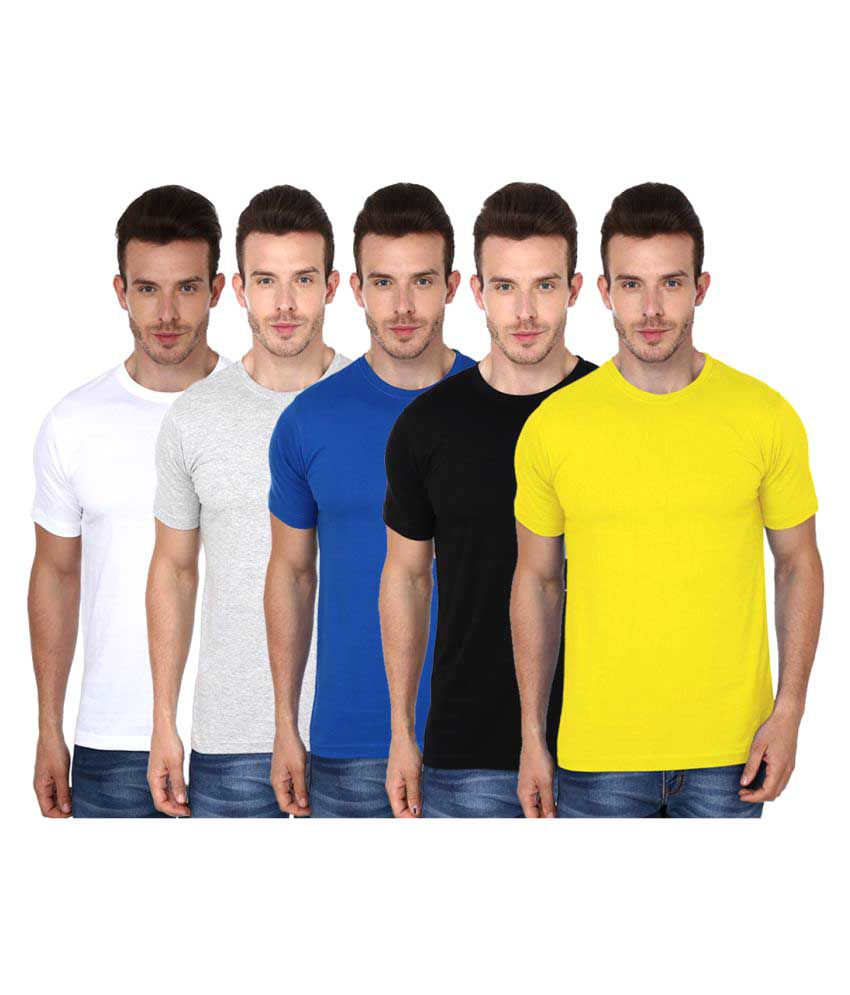 99tshirts Multi Round T-Shirt Pack of 5