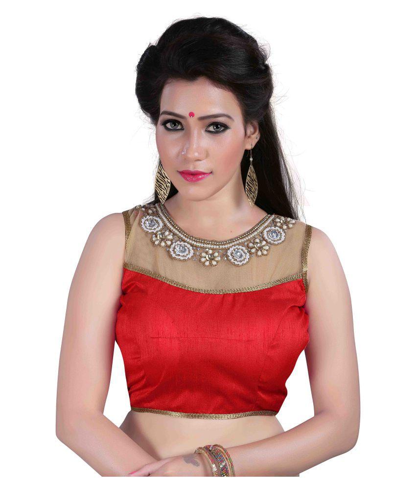 Shreeji Designer Red Round Shape With Dori Blouse