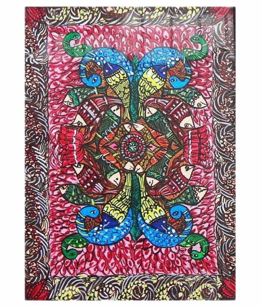 Amazing Collections Madhubani Painting On Canvas With Frame