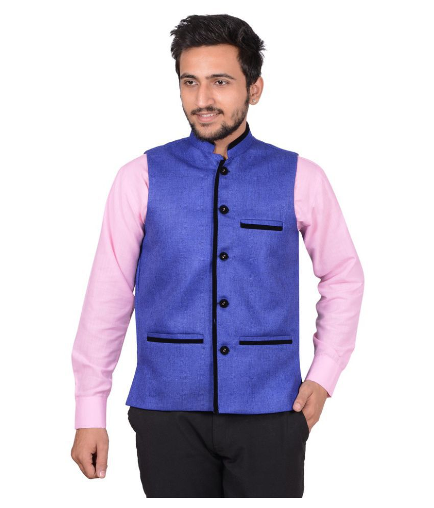 GDS Blue Solid Party Waistcoats
