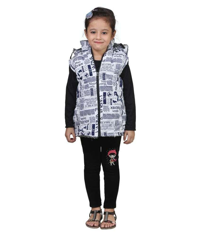 Crazeis White Woven Half Sleeve Jacket For Girls