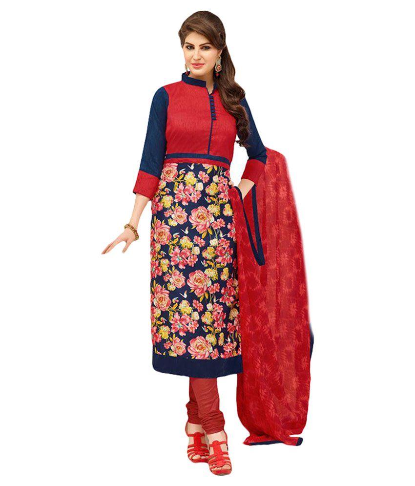 Khushali Multicoloured Chanderi Dress Material