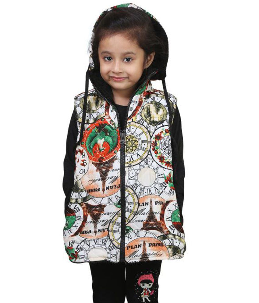 Qeboo Multicolour Sleeveless Quilted & Bomber Jacket For Girls
