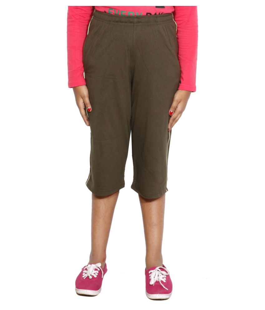 IndiWeaves Brown Girls Regular Fit Casual Capri