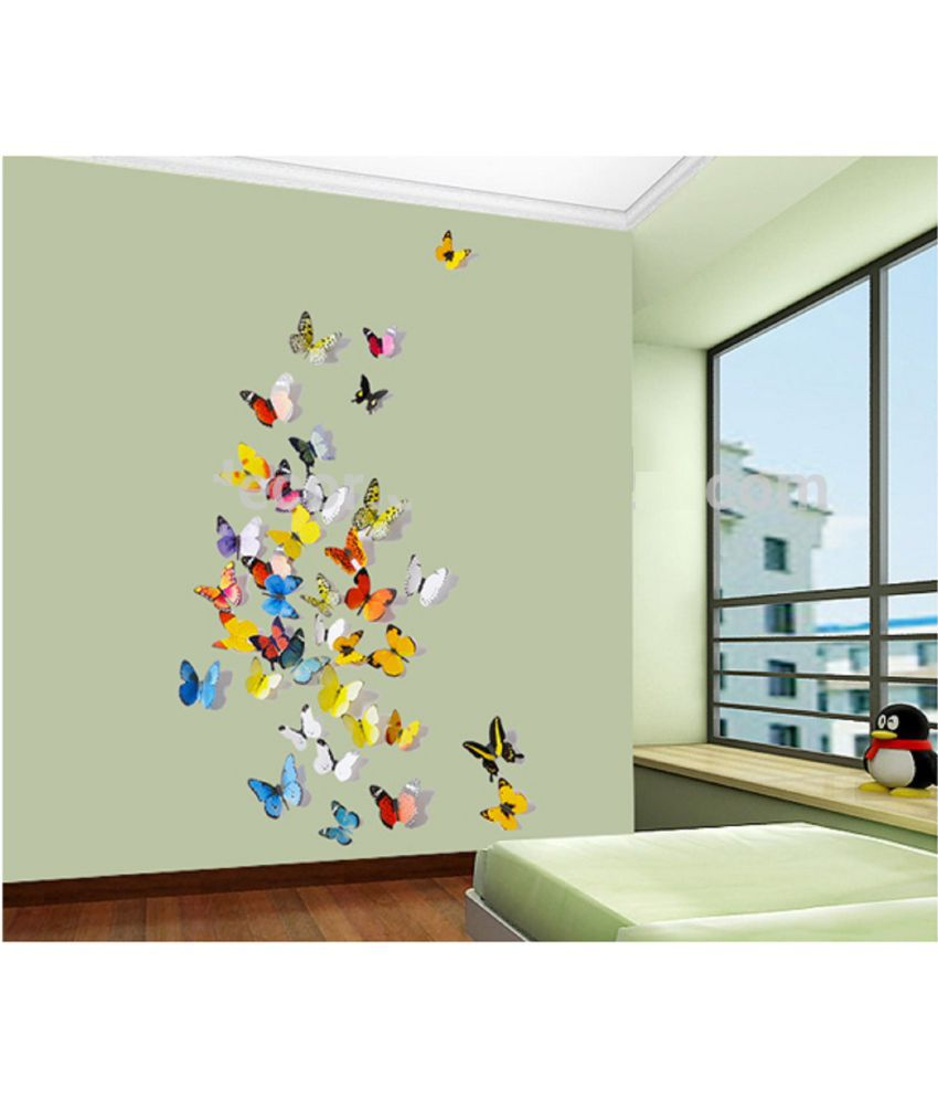 Wall stickers buy online -  Jaamso Royals Multicolor 3d Butterflies Pvc Multicolour Wall Stickers
