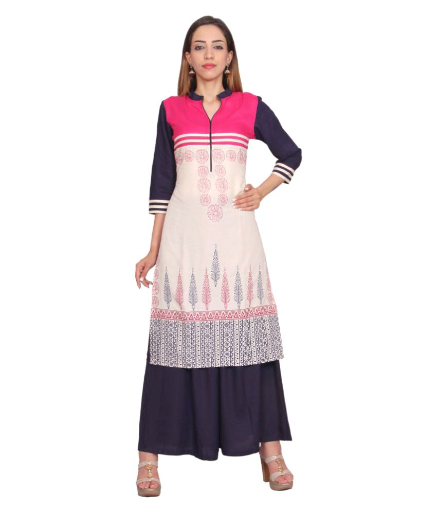 Rama Multicoloured Cotton Straight Stitched Suit