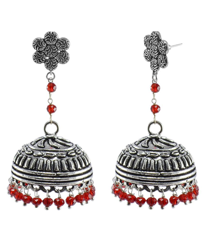 Silvesto India Silver Alloy Jhumki Earrings