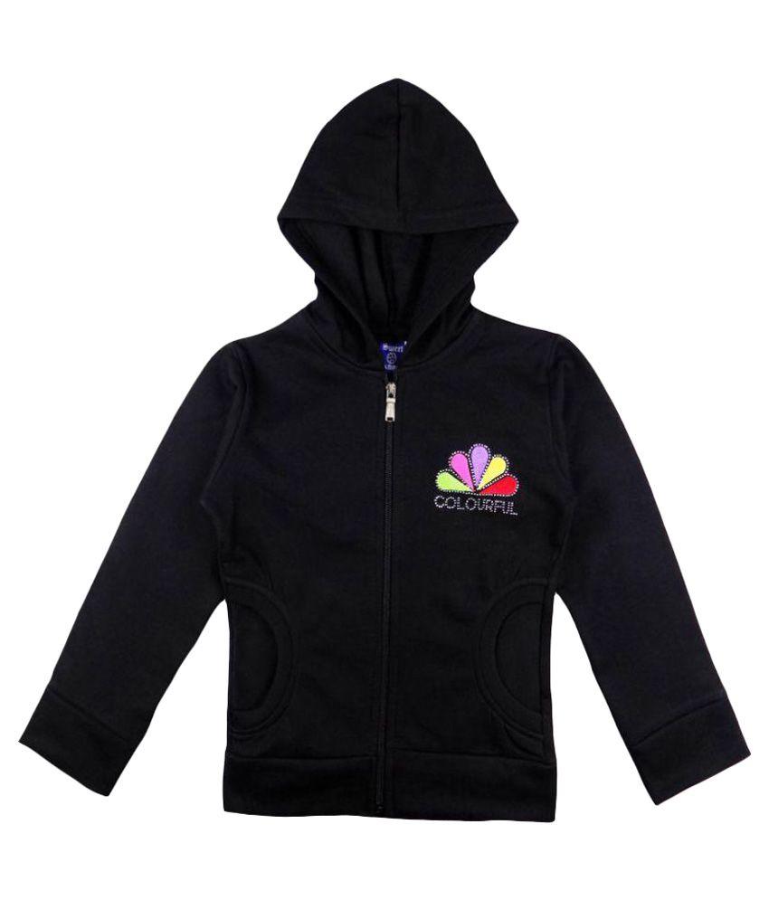 Sweet Angel Black Hooded Cotton Sweatshirt