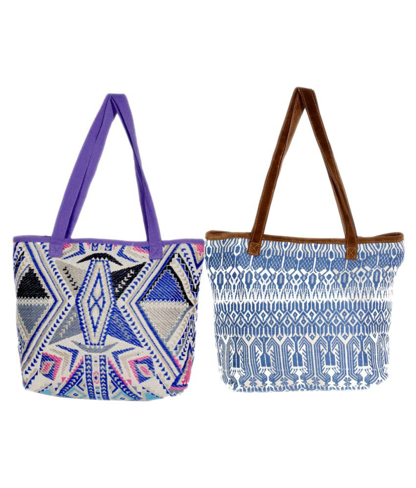 Indiweaves Multi Canvas Tote Bag - Pack of 2
