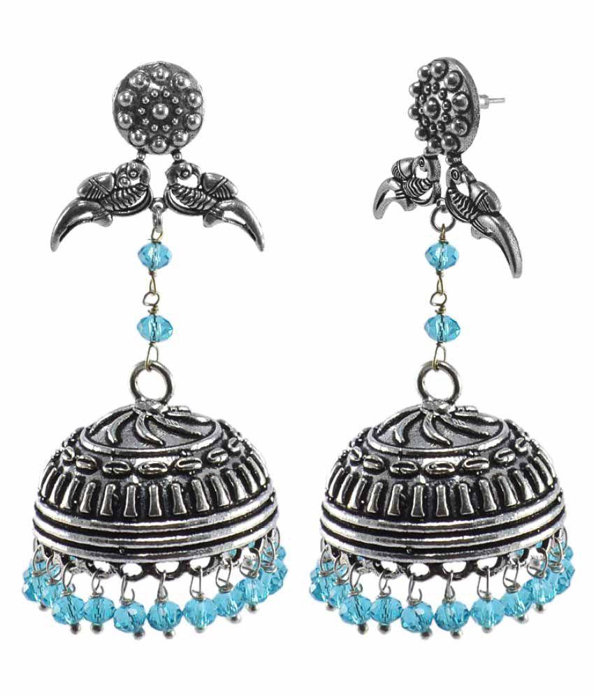 Silvesto India Silver Alloy Jhumki Earrings\n
