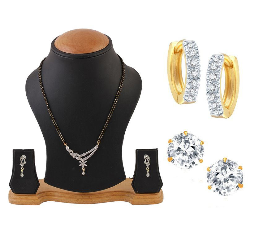 YouBella American Diamond Mangalsutra Set with AD Studs and Bali- Combo of 3
