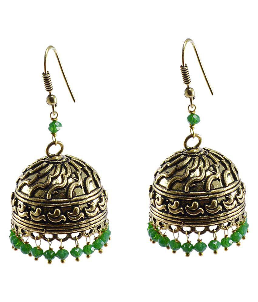 Silvesto India Green Jhumki Earrings