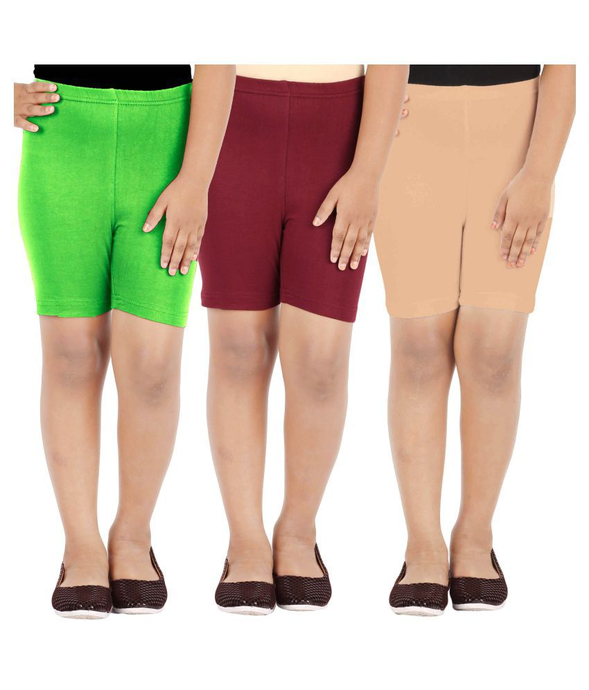 LULA Multicolour Cycling Shorts Pack of 3