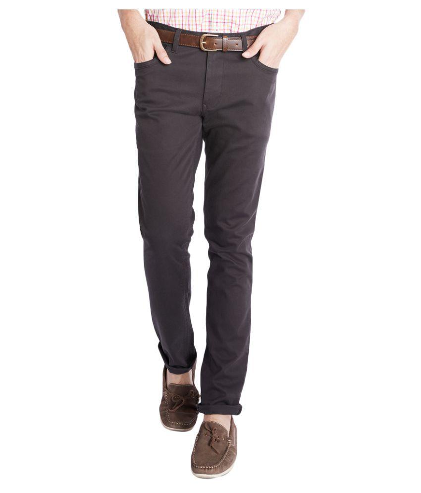 Parx Dark Brown Tapered Flat Trousers