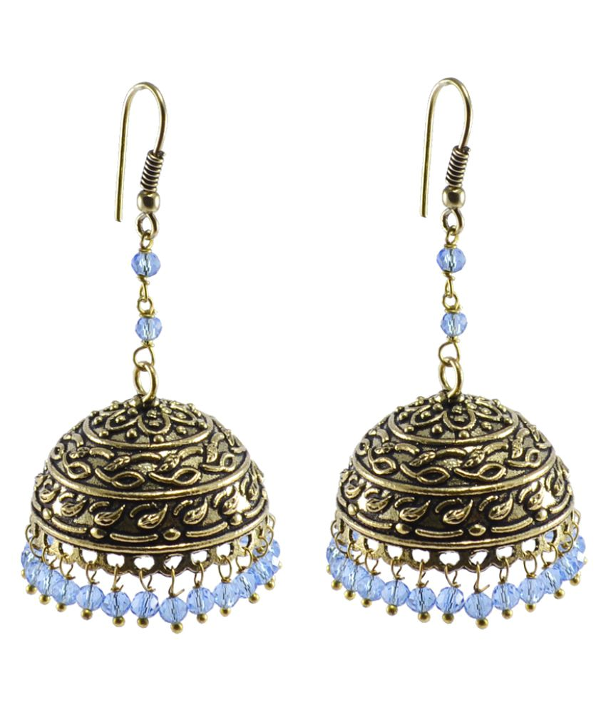 Silvesto India Alluring Ethnic Jewelry 23.9 Grams Tanzanite Crystal Alloy Oxidized Designer Jhumki