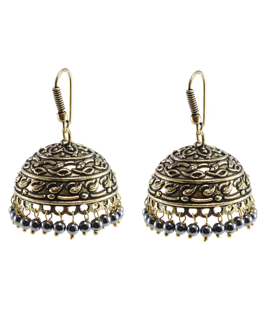 Silvesto India Golden Brass Jhumkis