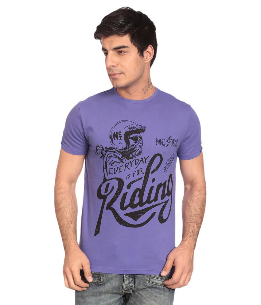Motocult Purple Round T-Shirt