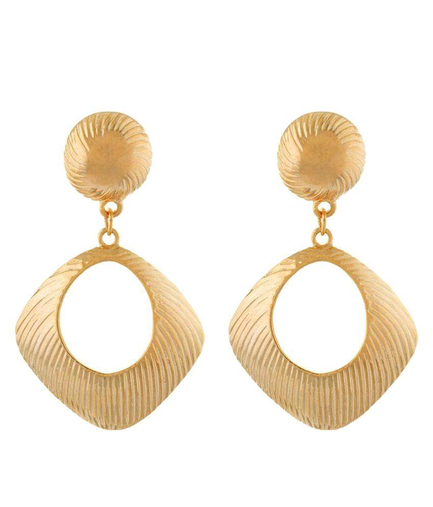 3b967ac8d8db2 OSF Fashion Rhombus Shape Gold Colour Alloy Earrings For Womens