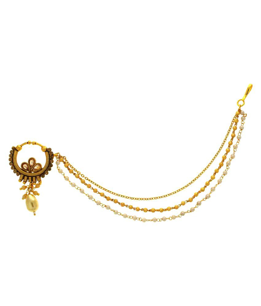 Anuradha Art Golden Alloy Classy Designer Nath