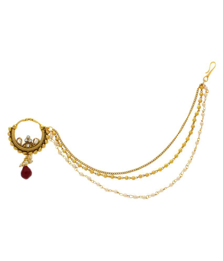 Anuradha Art Golden Alloy Nath For Girls