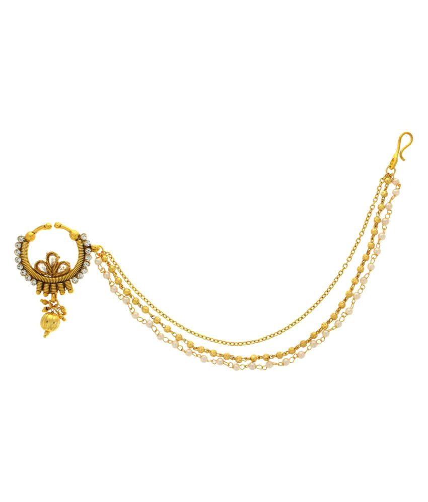 Anuradha Art Golden Alloy Stunning Designer Dulhan Nose Ring