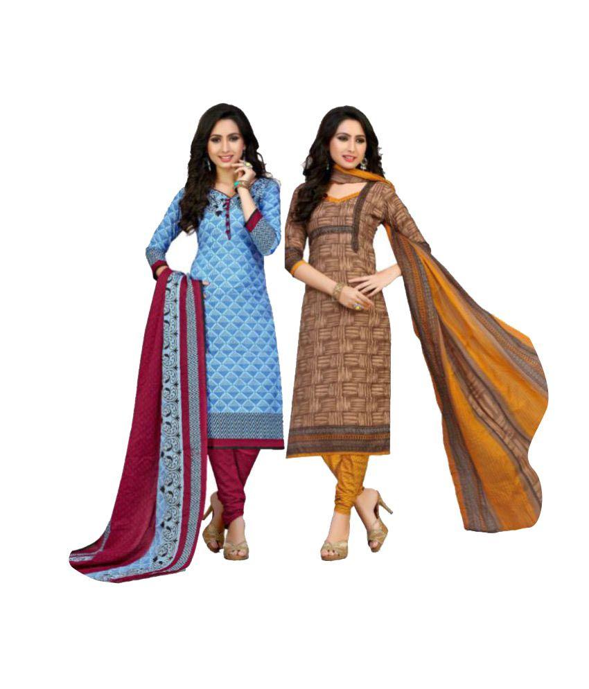 Sahari Designs Multicoloured Cotton Dress Material