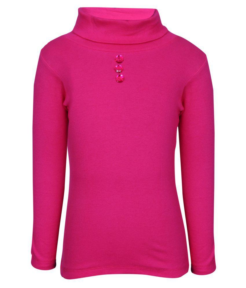 Bio Kid Pink Full Sleeve Solid Crew Neck Girl's Sweatshirt