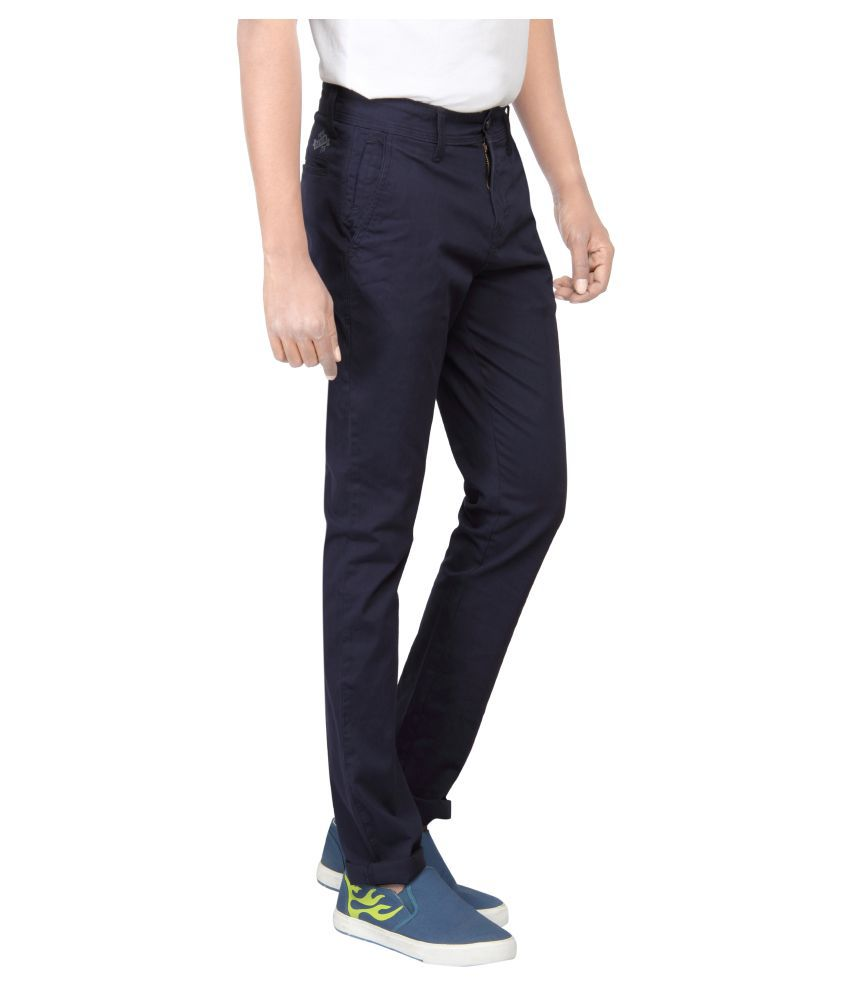 Pepe Jeans Navy Blue Slim Flat Chinos