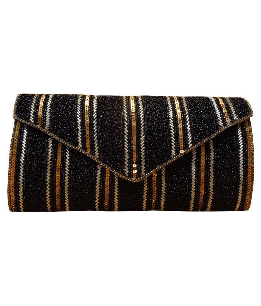 Spice Art Black Fabric Box Clutch