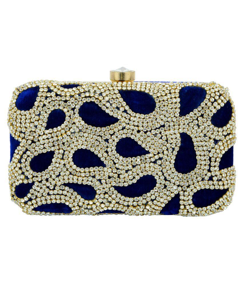 Tooba Handicraft Blue Fabric Box Clutch