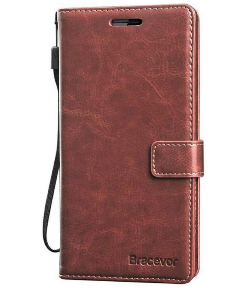 new product 81c4e 3ab56 Samsung Galaxy On7 Pro Flip Cover by Bracevor - Brown