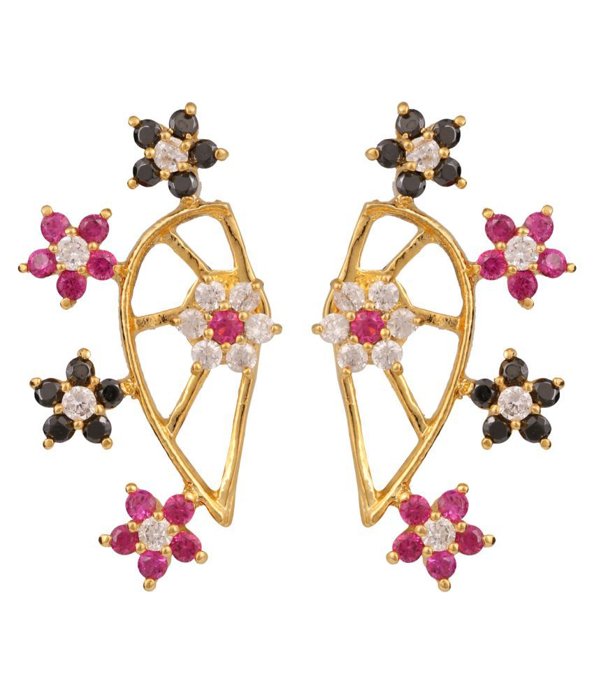 Efulgenz Multicolour Alloy  CZ Cuff Earrings