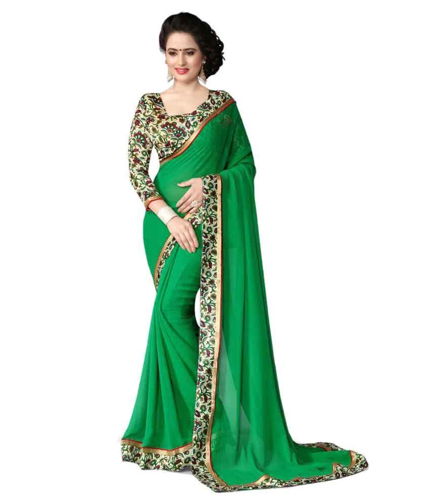 Oorjeet Green Chiffon Saree