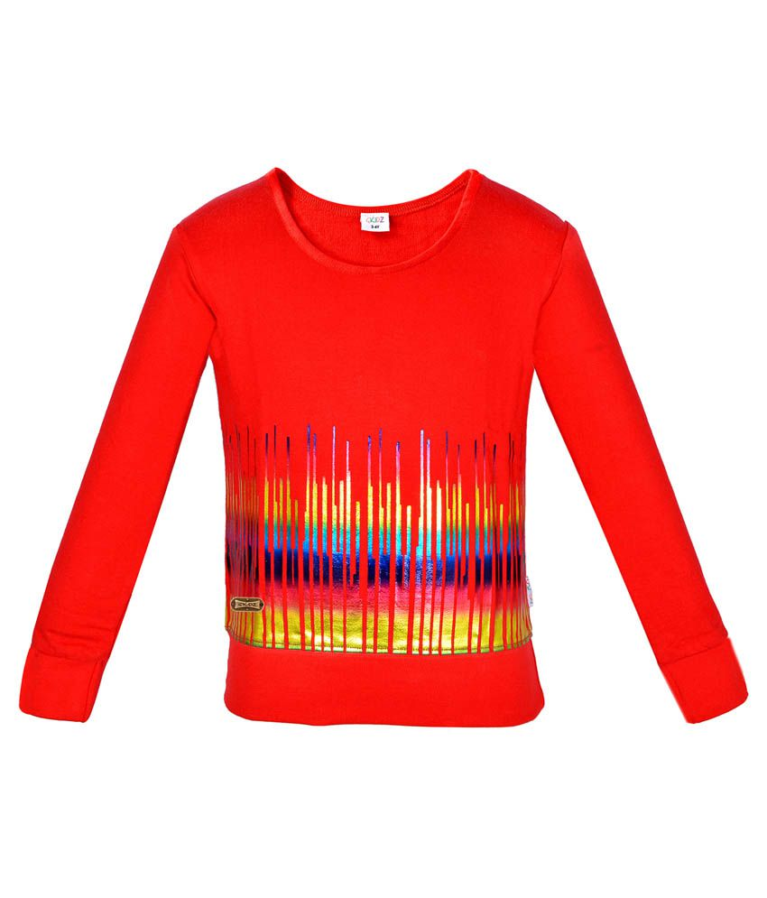Gkidz Red Musical Wave Printed Sweatshirt
