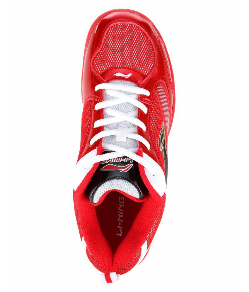 Li Ning Non Marking Red And White Shoe Badminton Shoes