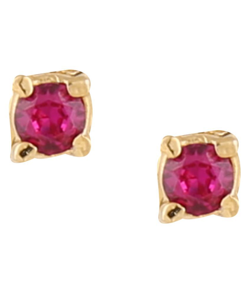 Parinaaz Golden Cubiz Zirconia Studded Stud Earrings