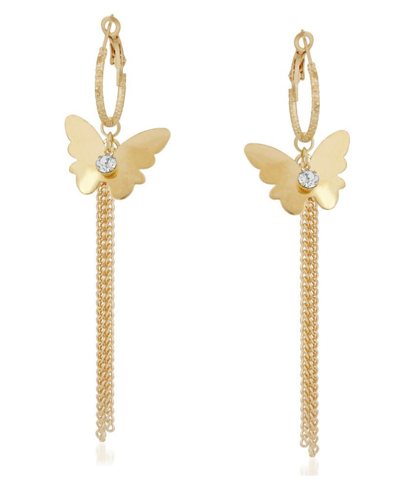 VK Jewels Golden Alloy Hangings Earrings