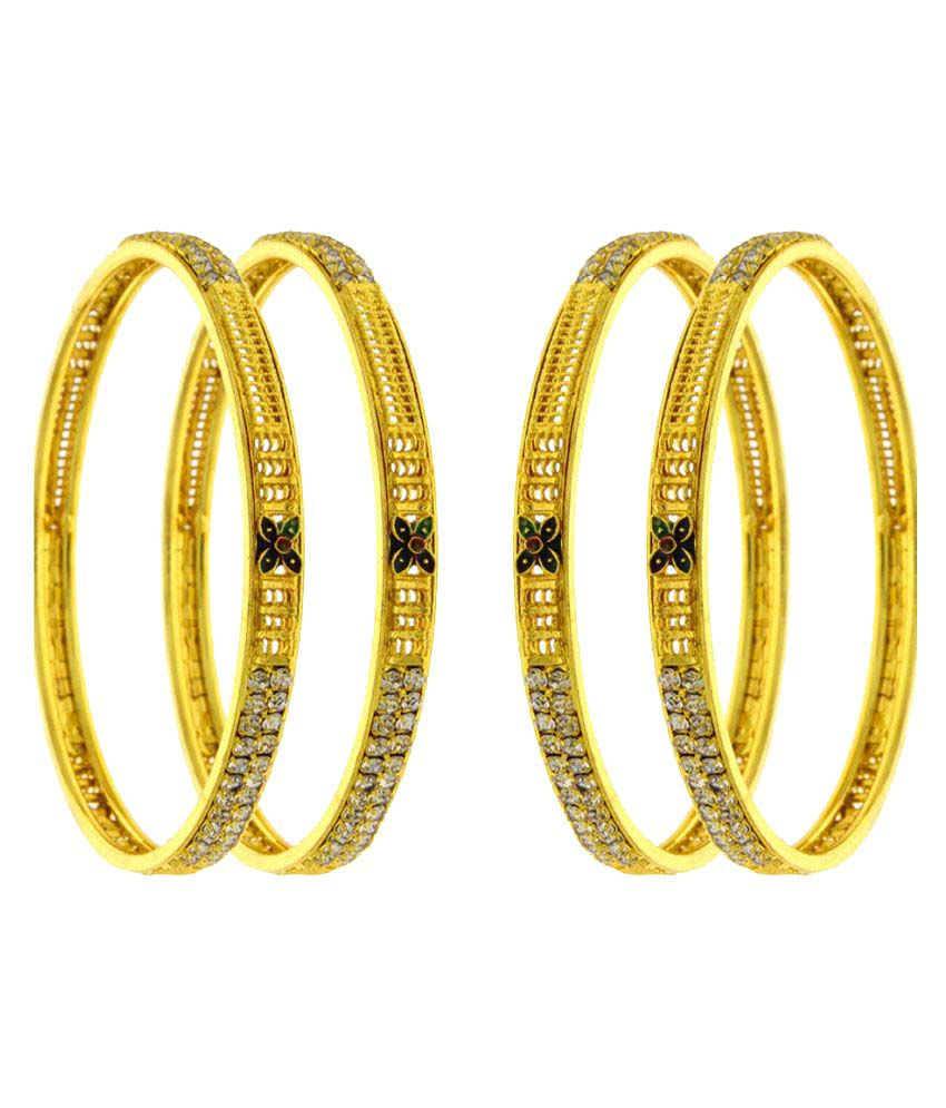 Anuradha Art Golden Alloy Bangle - Set of 4