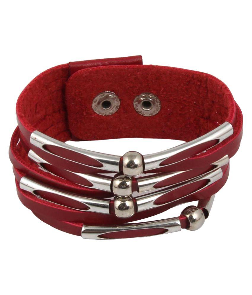 Jewelizer Rock Chick Leather Bracelet For Women