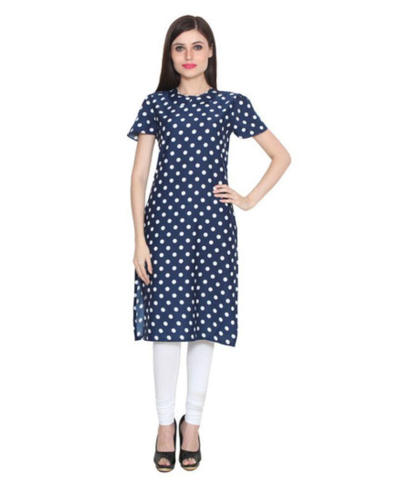 Shree Wow Blue Crepe Straight Kurti