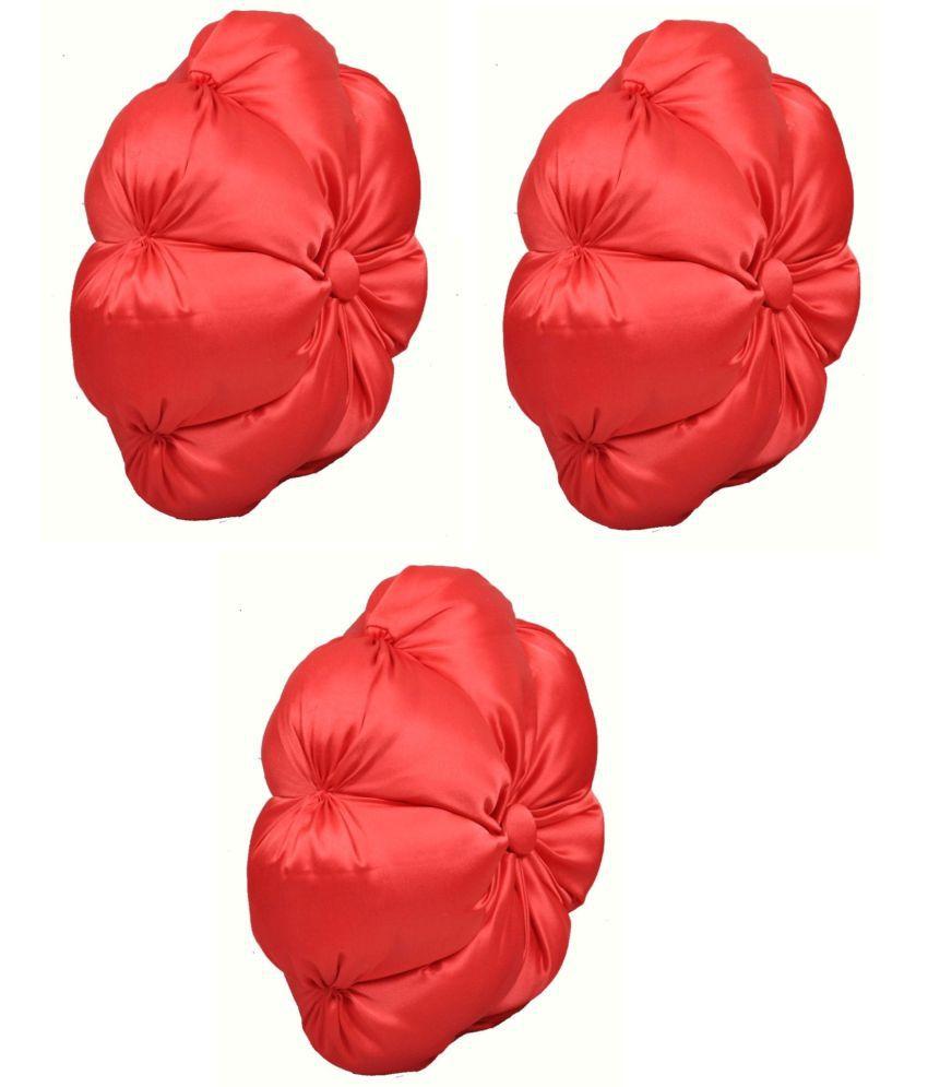 SiyaSmi Set of 3 Red Satin Filled Cushion