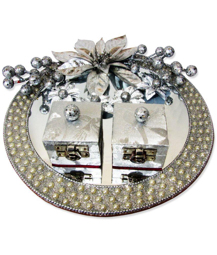 Weddingpitara Glass Engagement Ring Platter Round Decorative Plate