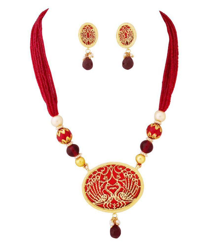 Gems N Pearls Red Traditional Rajesthani Thewa Necklace